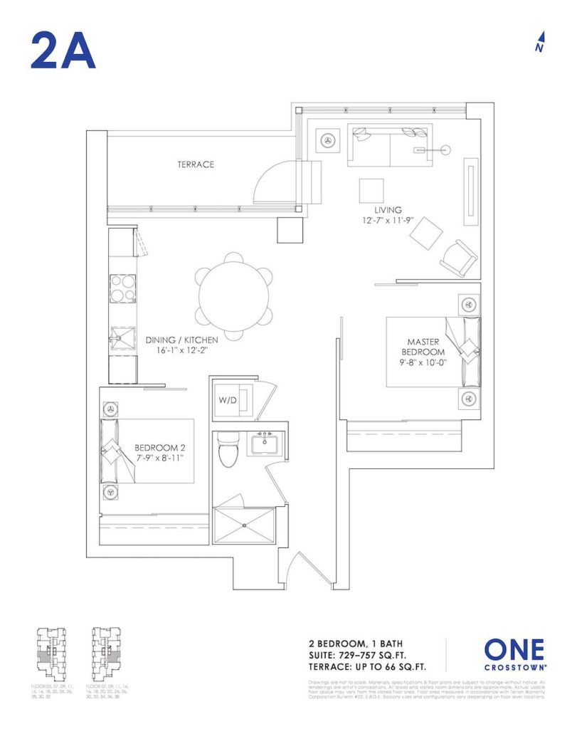 One Crosstown Condos Floorplan - 17 - Two Bedroom 2A - by Yossi Kaplan, MBA
