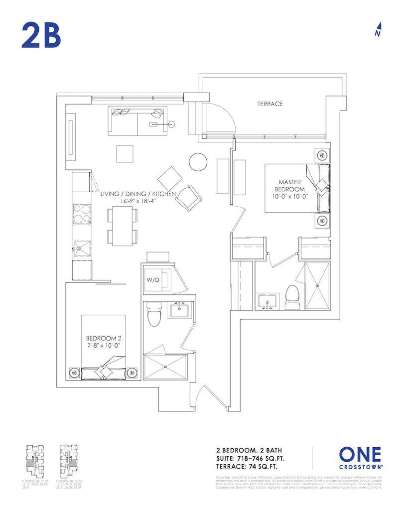 One Crosstown Condos Floorplan - 18 - Two Bedroom 2B - by Yossi Kaplan, MBA