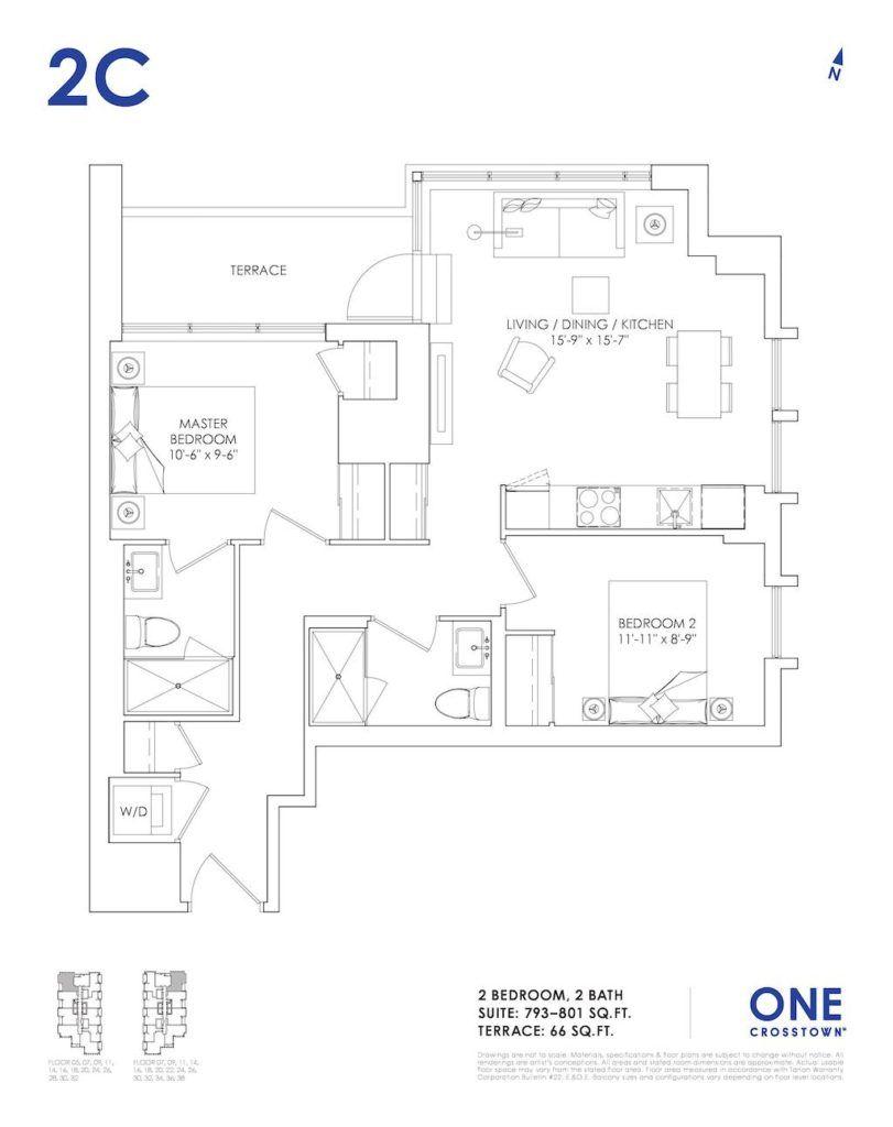 One Crosstown Condos Floorplan - 19 - Two Bedroom 2C - by Yossi Kaplan, MBA