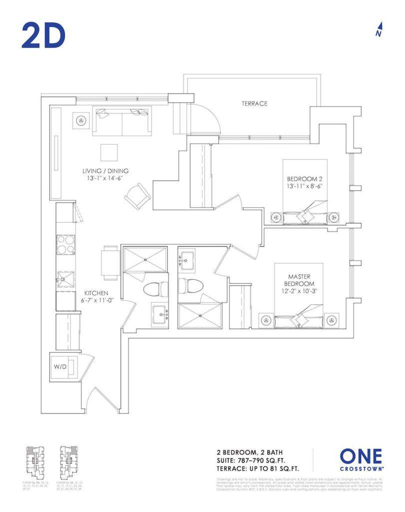 One Crosstown Condos Floorplan - 20 - Two Bedroom 2D - by Yossi Kaplan, MBA