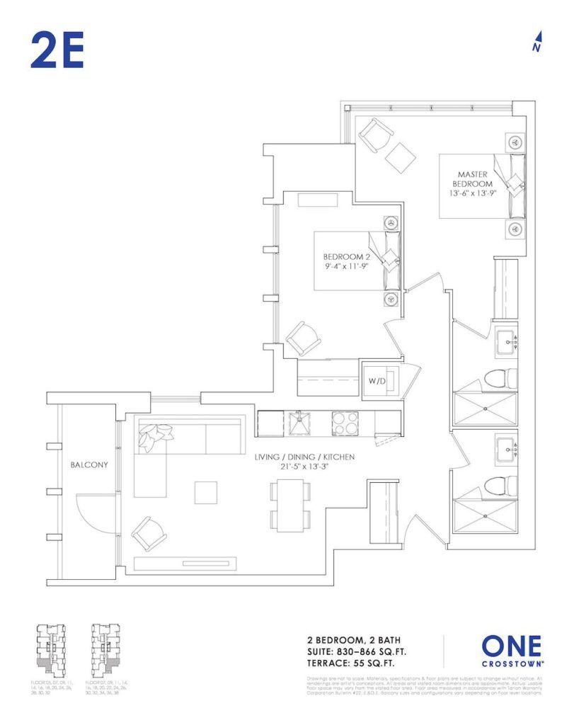 One Crosstown Condos Floorplan - 21 - Two Bedroom 2E - by Yossi Kaplan, MBA