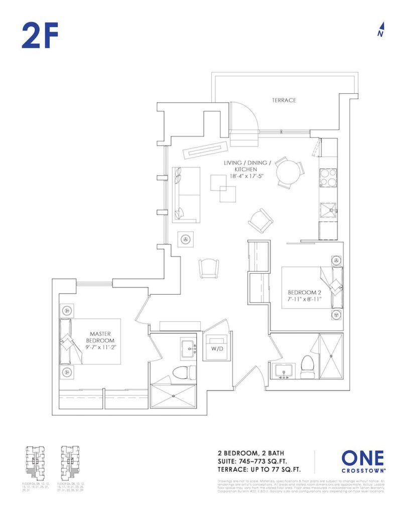 One Crosstown Condos Floorplan - 22 - Two Bedroom 2F- by Yossi Kaplan, MBA