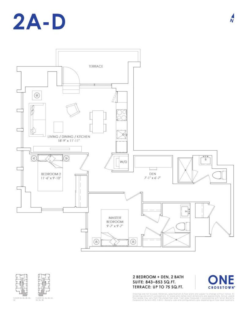 One Crosstown Condos Floorplan - 23 - Two Bedroom and Den 2A-D - by Yossi Kaplan, MBA