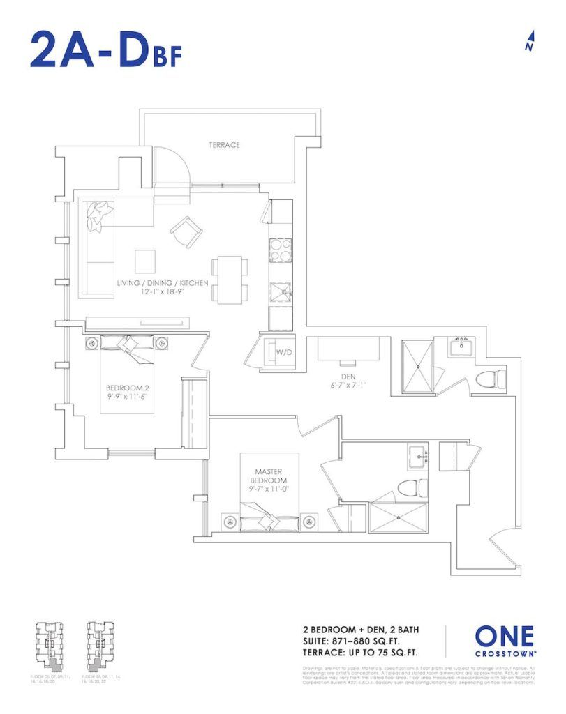 One Crosstown Condos Floorplan - 24 - Two Bedroom and Den 2B-A by Yossi Kaplan, MBA
