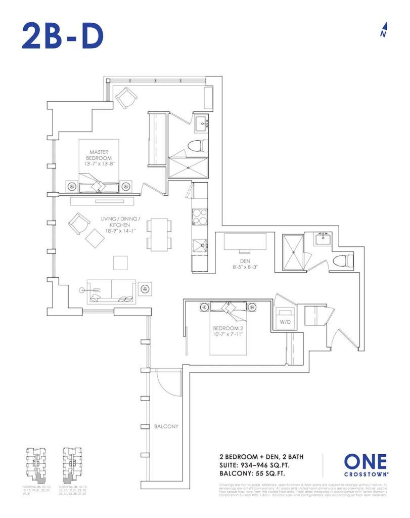 One Crosstown Condos Floorplan - 25 - Two Bedroom and Den 2B-D - by Yossi Kaplan, MBA