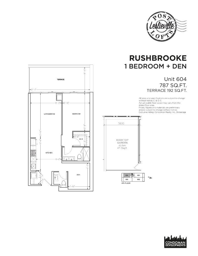 Post Lofts Floorplan - CONTACT YOSSI KAPLAN urbanrealtytoronto.com