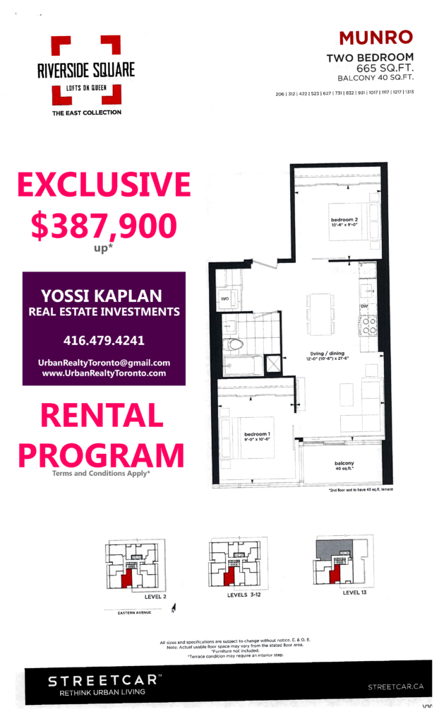 RIVERSIDE SQUARE INVESTOR UNITS - FLOORPLANS TWO BED 665 SQ FT - CONTACT YOSSI KAPLAN