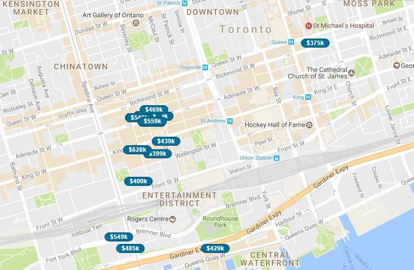 SAVED MAP SEARCH AREA - ENTERTAINMENT DISTRICT CONDOS