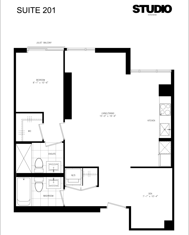 STUDIO CONDOS ON RICHMOND - FLOORPLANS - 1 BEDROOM