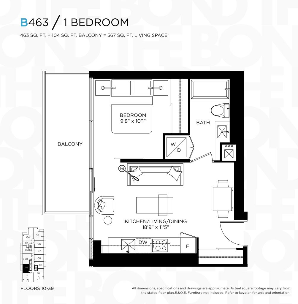 THE BOND CONDOS FLOORPLAN - ONE BEDROOM 463 SQ FT