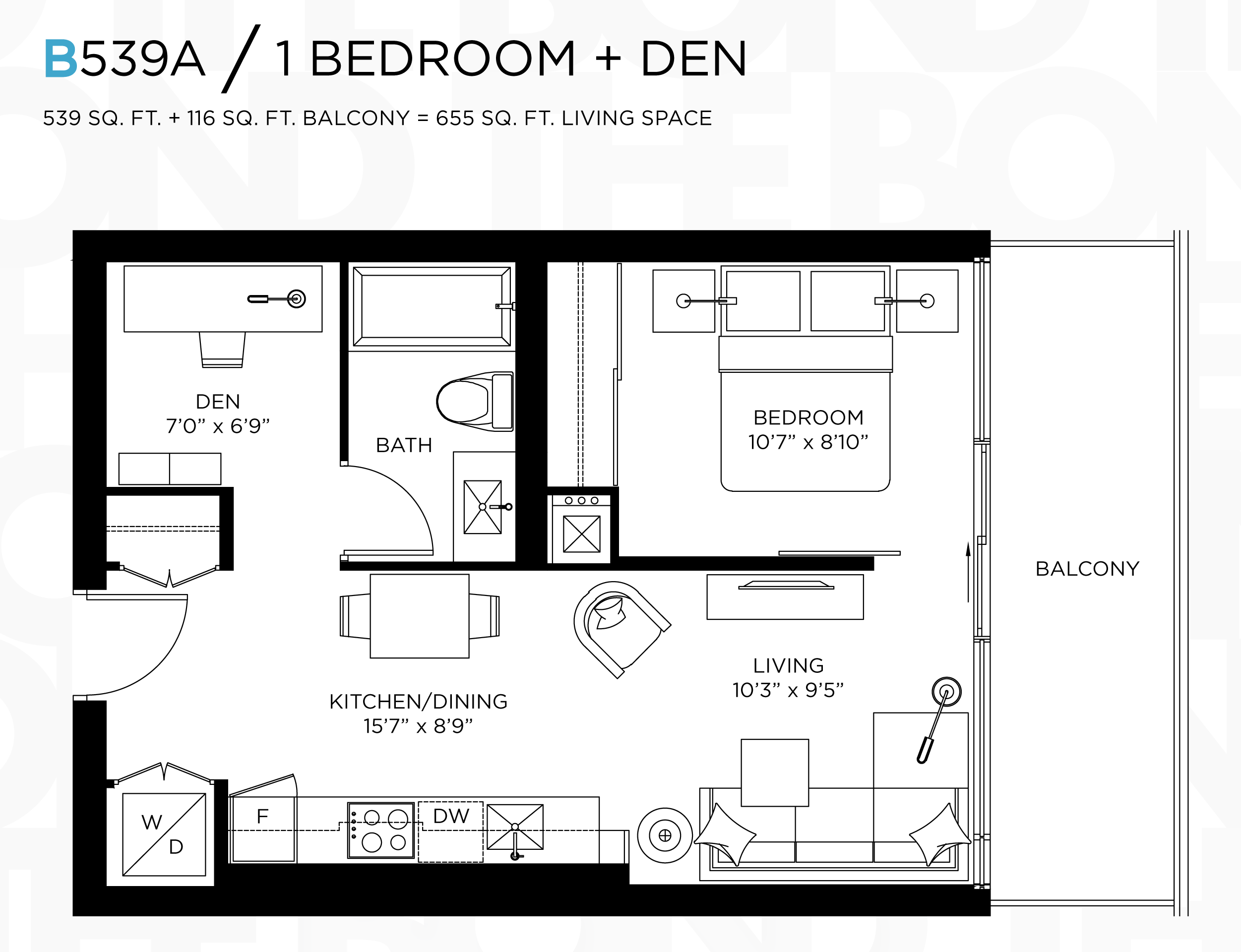 THE BOND - FLOORPLANS ONE BED 539 SQ FT - CONTACT YOSSI KAPLAN