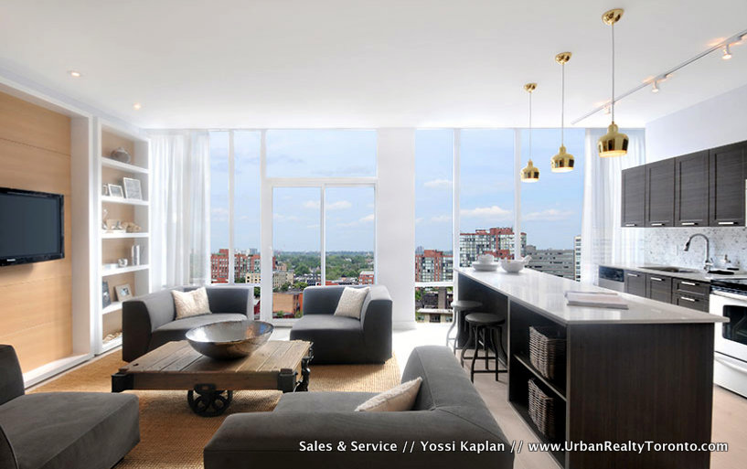 THE YARDS CONDOS FOR SALE - LIVING ROOM W KITCHEN - YOSSI KAPLAN