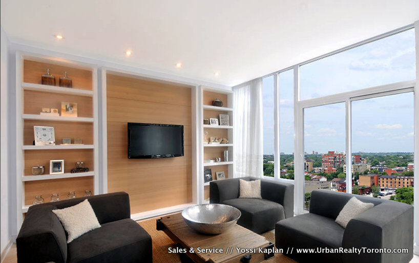 THE YARDS CONDOS FOR SALE - LIVING ROOM W VIEW - YOSSI KAPLAN