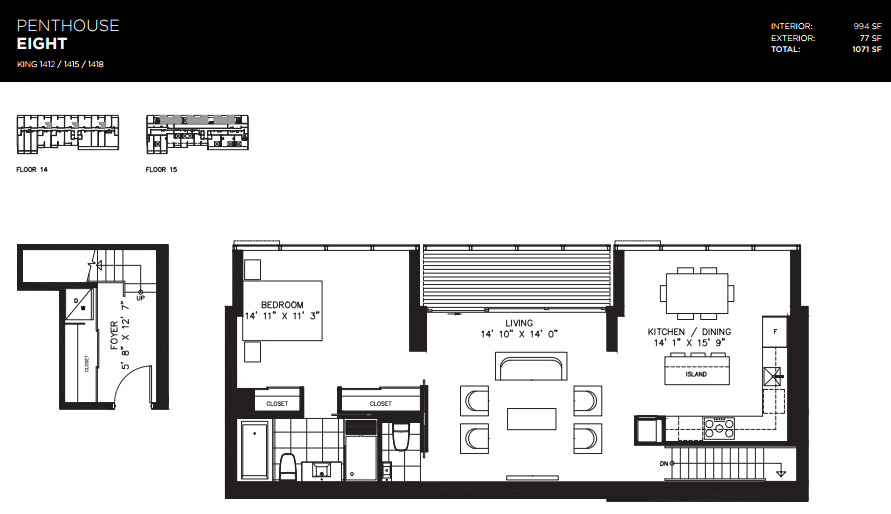 THOMPSON RESIDENCES - PENTHOUSE FOR SALE - 994 SQ FT