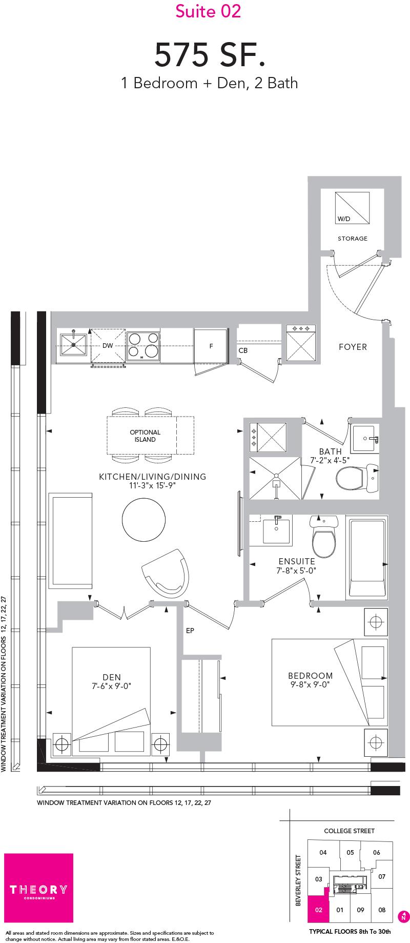 Theory Condos - Floorplan One + Den 575 sq ft