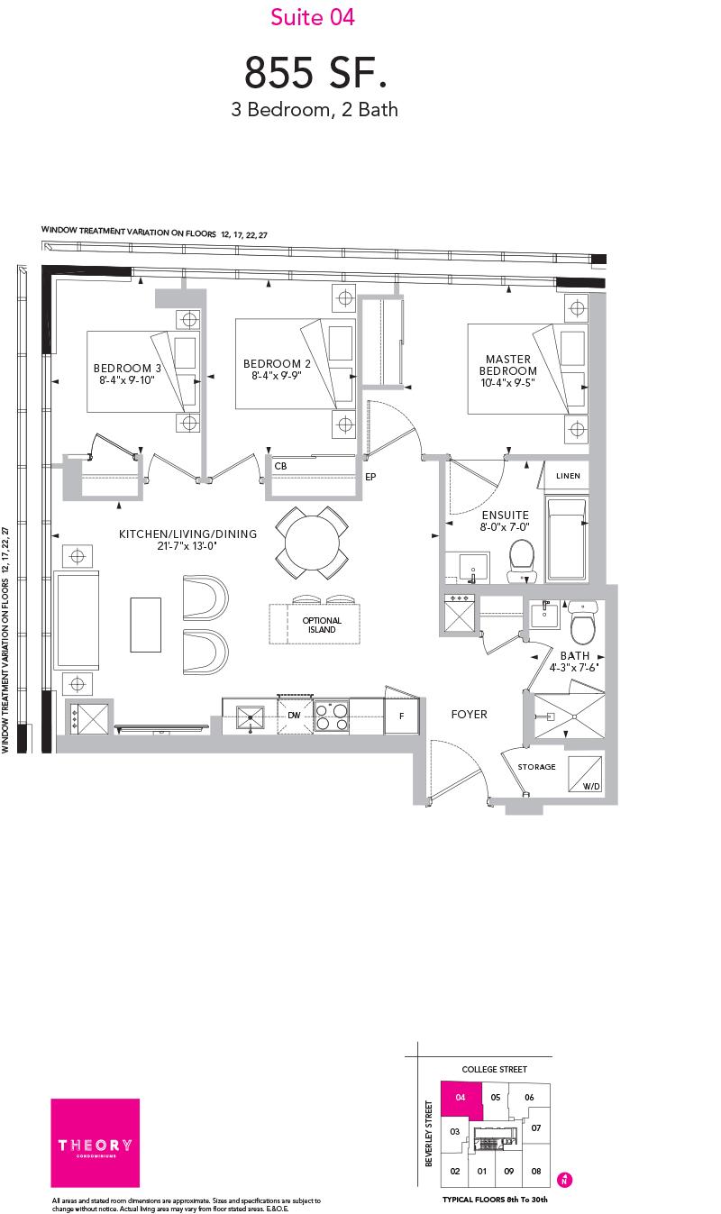 Theory Condos - Floorplan Three Bedroom 855 sq ft