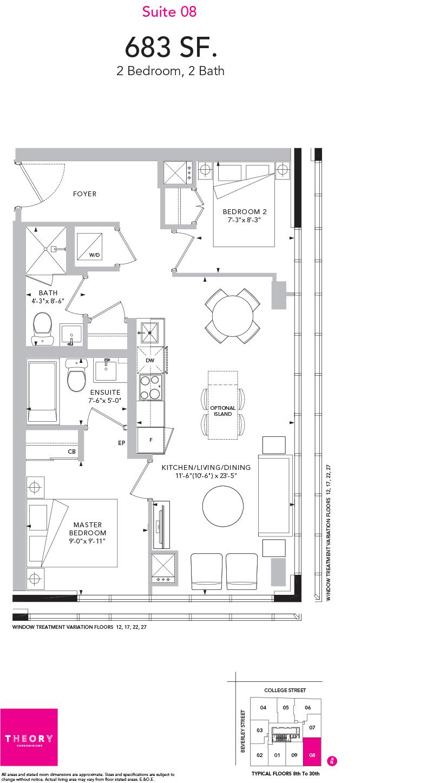 Theory Condos - Floorplan Two Bedroom 683 sq ft