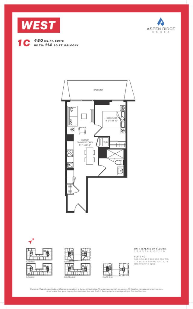West Condos - 1C Floorplan - VIP Sales Yossi KAPLAN